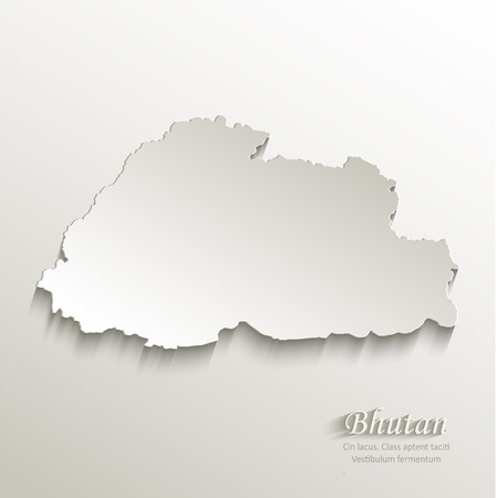 bhutan: Bhutan map card paper 3D natural vector Illustration