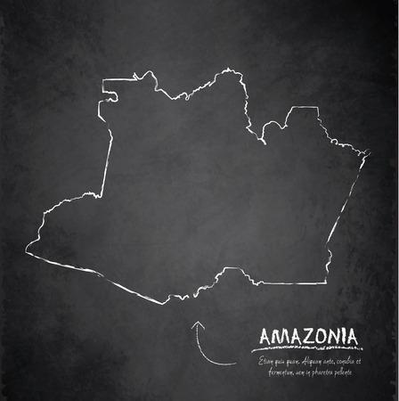 amazonia: Amazonia map chalkboard blackboard vector