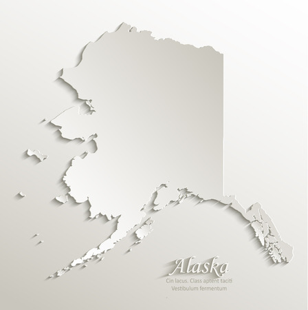 alaska map: Alaska map card paper 3D natural vector