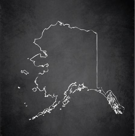 alaska: Alaska map chalkboard blackboard raster