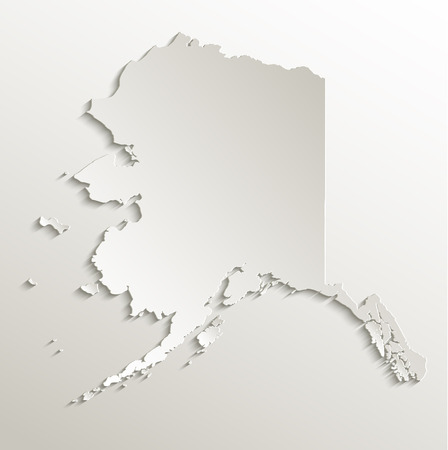 alaska map: Alaska map card paper 3D raster natural