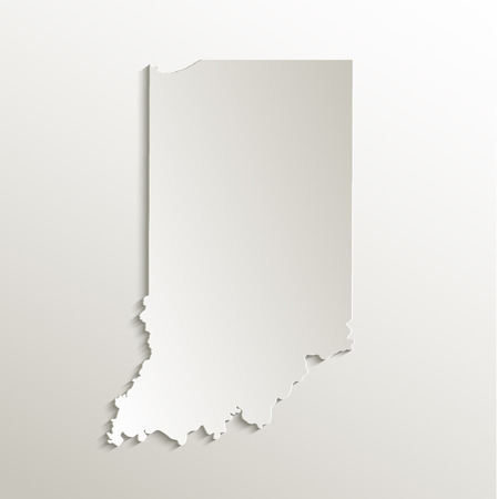 indiana: Indiana map card paper 3D natural raster