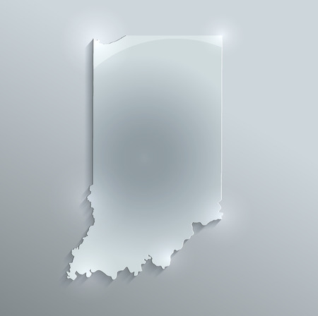 Indiana map glass card paper 3D raster
