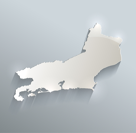 papery: Rio de Janeiro, Brazil map blue white card paper 3D raster