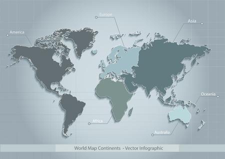 Weltkarte Kontinente blau Vektor - Individuelle verschiedenen Kontinenten - Europa Asien Amerika Afrika Australien Ozeanien Vektorgrafik