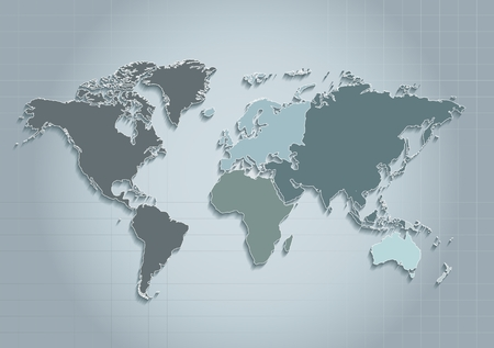 oceania: world map continents blue raster - Individual Separate continents - Europe Asia America Africa Australia Oceania