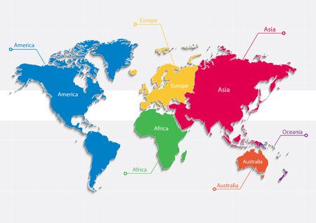 continentes mapa del mundo vector de colores - continentes separados individuales - Europa Asia América África Oceanía Australia Ilustración de vector