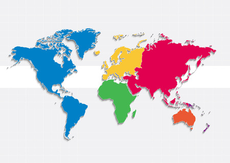 oceania: world map continents raster colors - Individual Separate continents - Europe Asia America Africa Australia Oceania Stock Photo