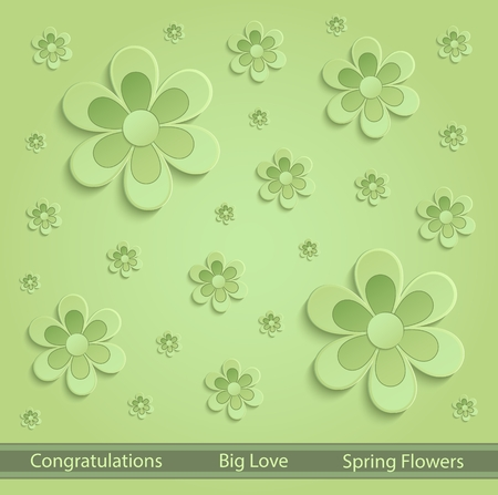 green paper: Spring Flowers green paper 3D