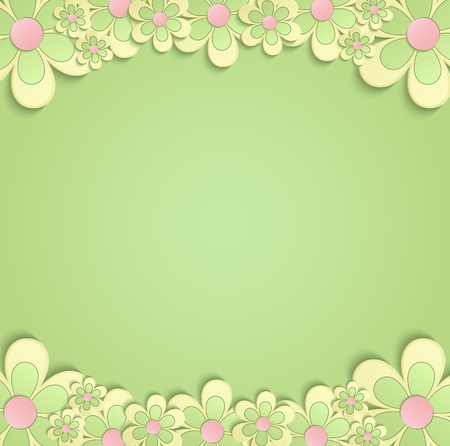 green yellow: Spring Flowers border card 3D green yellow