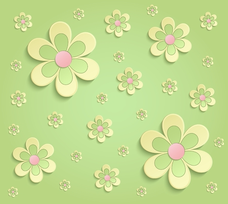 Spring Flowers 3D paper green yellow pink wallpaper raster Stock Photo