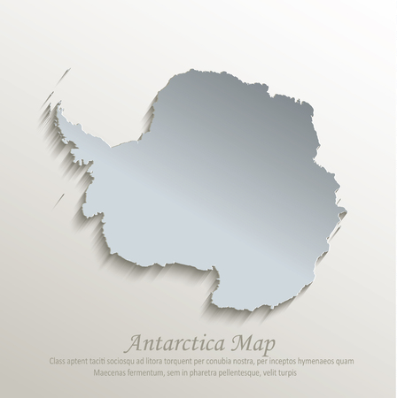 Antarctica map blue white card paper 3D