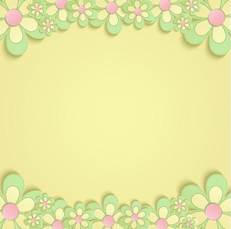 Fleurs de printemps frontière carte 3D jaune