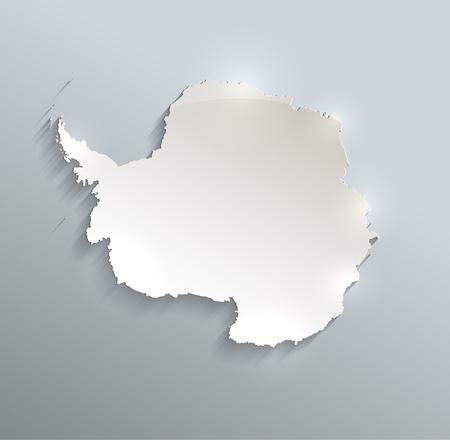 antarctica: Antarctica map blue white card paper 3D raster