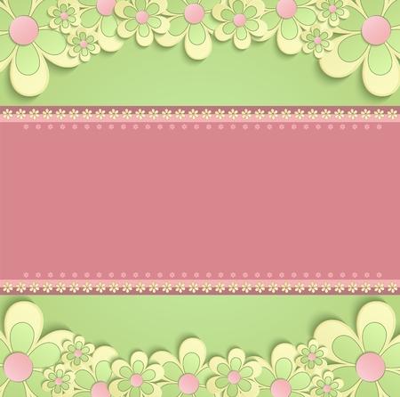 felicitation: greeting card 3D congratulations flowers green pink raster