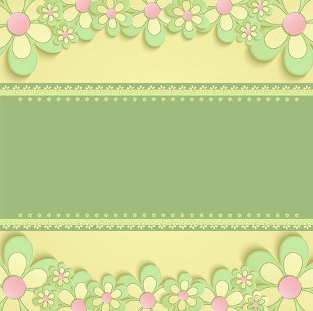 flores de cumpleaños: 3D flowers greeting card congratulations yellow green raster