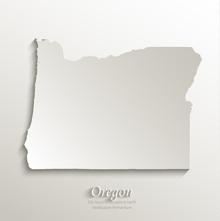 oregon: Oregon map card paper 3D natural vector