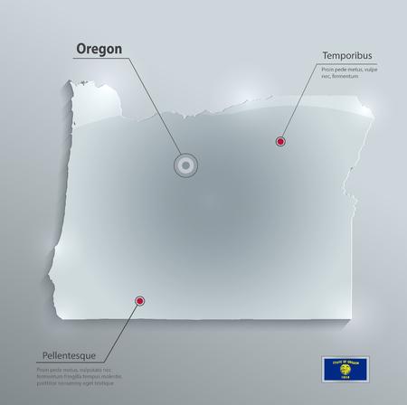 glass paper: Oregon map flag glass card paper 3D vector