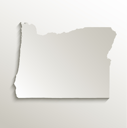 state of oregon: Oregon map card paper 3D natural vector
