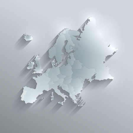 individual: Europe political map glass card paper 3D raster Individual states Separate