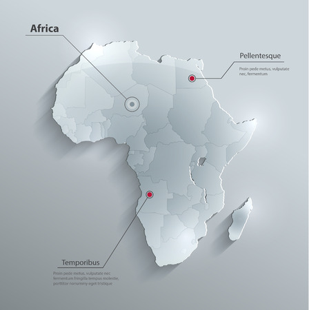 political: Africa political map flag glass card paper 3D Individual states Separate Illustration
