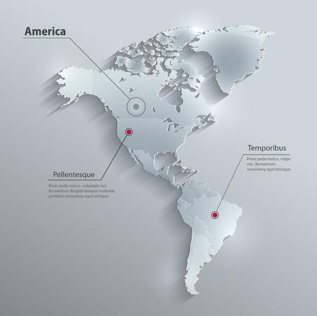 América del mapa político de papel tarjeta de cristal de la bandera 3D individual estados separados