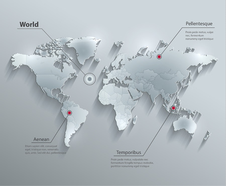 political: World political map glass card paper 3D Individual states Separate