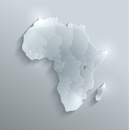individual: Africa political map flag glass card paper 3D raster Individual states Separate