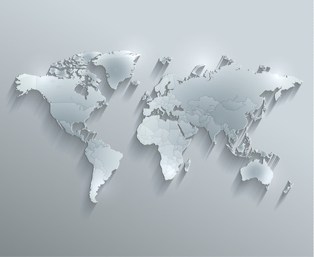 individual: World political map glass card paper 3D raster Individual states Separate
