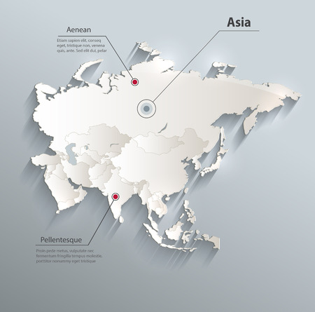 individual: Asia political map 3D Individual states Separate