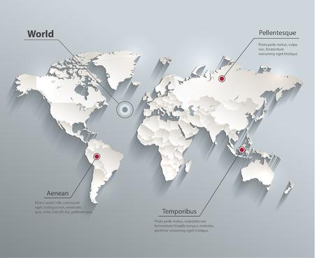 World political map 3D