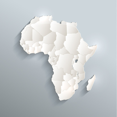 Africa political map 3D raster Individual states Separate Stock Photo