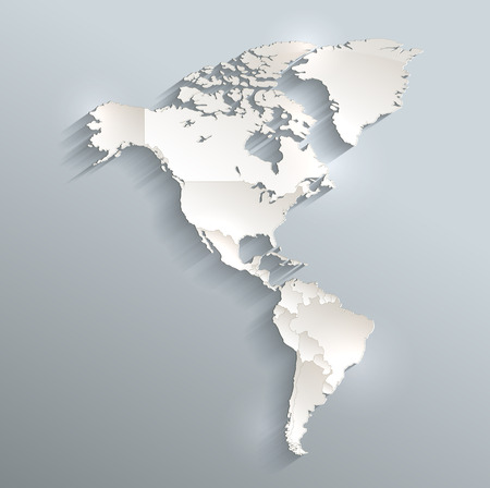 individual: America political map 3D raster Individual states Separate Stock Photo