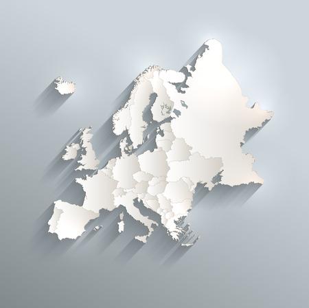individual: Europe political map 3D raster Individual states Separate