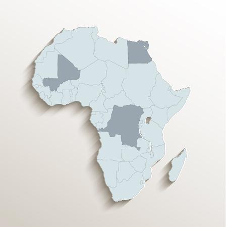 Africa political map white blue 3D vector