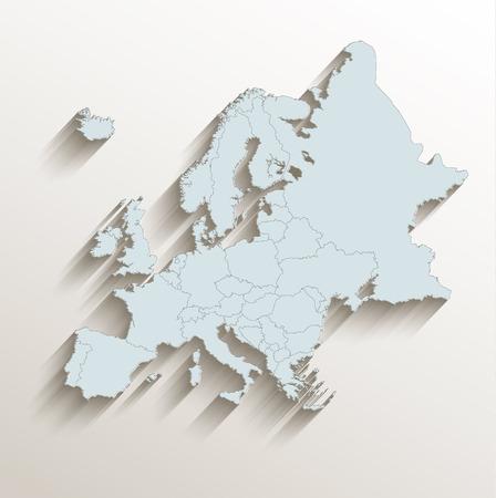 europa: mapa político de Europa blanco azul raster 3D