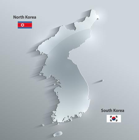 glass paper: Korea map glass card paper 3D vector