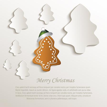 natural paper: christmas tree gingerbread green cap natural paper 3D vector