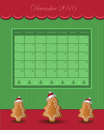 calendario diciembre: De diciembre del calendario el año 2016 de pan de jengibre verde árbol de Navidad roja del vector