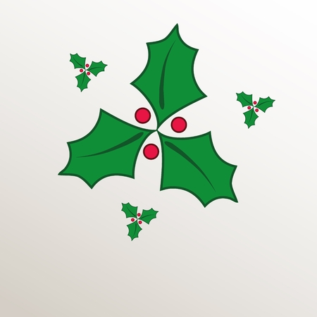 green paper: Christmas holly green natural paper 3D raster Stock Photo