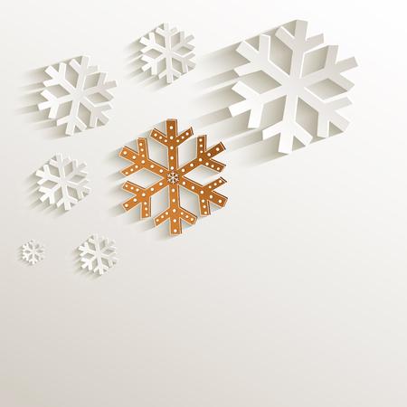 natural paper: Christmas gingerbread snowflake natural paper 3D raster