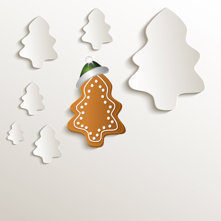 christmas trees gingerbread green cap natural paper 3D raster