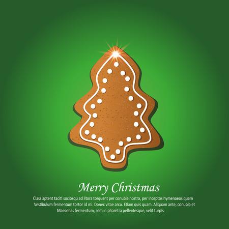 Christmas tree gingerbread greeting card green vector