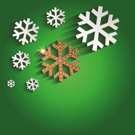 Christmas gingerbread snowflakes greeting card green raster