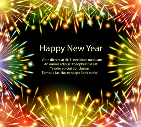 fireworks, color card, horizontal, vector, greeting card, congratulations, happy Illustration
