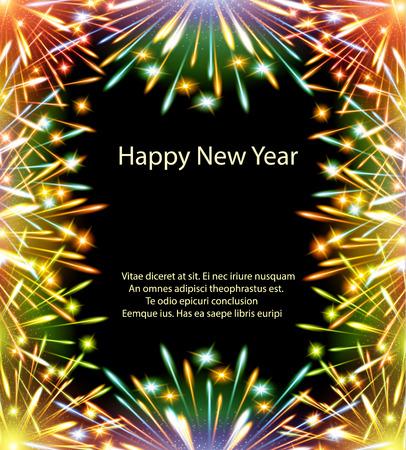 marco cumpleaños: fuegos artificiales, tarjetas de color, horizontal, vector, tarjetas de felicitación, enhorabuena, feliz