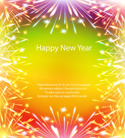 photoframe: fireworks, color card, horizontal, vector, greeting card, congratulations, happy Illustration