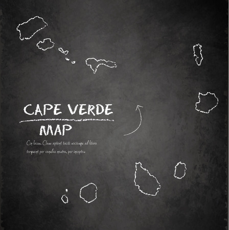 cape: Cape Verde islands map continent blackboard chalkboard vector