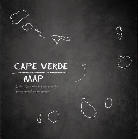 cape: Cape Verde islands map continent blackboard chalkboard vector