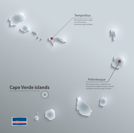 cape: Cape Verde Islands flag map glass card paper 3D vector